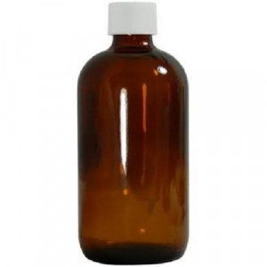 1L Amber Boston Round Assembled w/33-430 PTFE Lined Cap, Certified, No Bar Code, Labels, w/50mg Sodium Sulfite (12/cs)