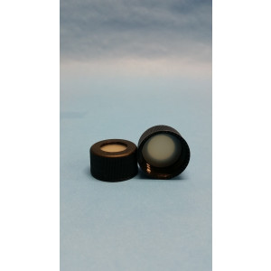 24-414 Black Open Top Cap w/Bonded Teflon/Silicone Septa {Each}