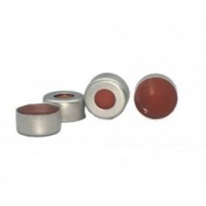 Cap, Crimp, 11mm, Aluminum Silver, PTFE/Red Sil Rubber  100pk