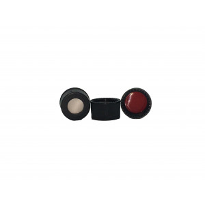 13-425 Black PP Open Top Cap Assembled w/ Red PTFE/Silicone Septa (100pk)