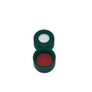 9mm AVCS Green Target DP Cap w/Red PTFE/White Silicone Septum (100/pk)