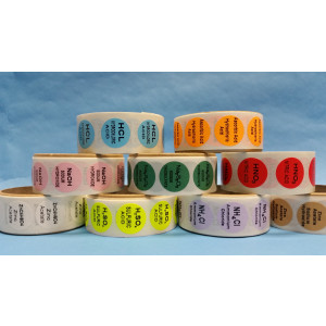 Hydrochloric Acid {Lt. Blue} Color Coded Sample Labels {HCL} (1000/Roll)