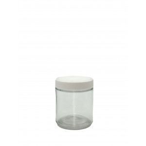 4oz Clear Straight Sided Jar Assembled w/58-400 PTFE Lined Cap, Bar Coded, Certified (24/cs)