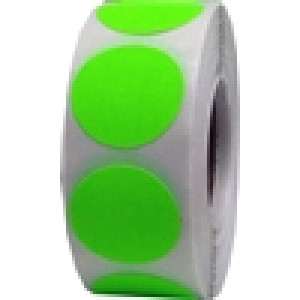 "1""-THERMAL TRANSFER LABEL-FLOURESCENT GREEN CIRCLE(5500 PER ROLL)"