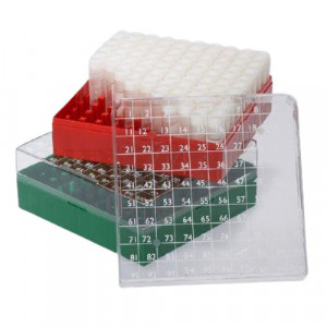 BioBOX 100, for 1.0mL and 2.0mL Internal Threaded CryoCLEAR vials, Polycarbonate (PC), Holds 100 vials (10x10 format), Printed Lid, Pack Includes a CryoClear Tube Picker, RED, 5/Unit