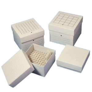 """Freezing Box, 3"""", Cardboard, 81-Place (9x9 format), fits 3.0mL, 4.0mL and 5.0mL CryoCLEAR vials, White"""