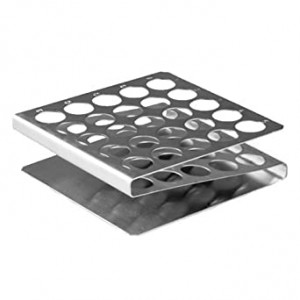 """Rack, Tube, 12/13mm, 25-Place, Stainless Steel """"Z"""" Shape"""