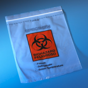 "Bag, Biohazard Specimen Transport, 8"" x 10"", Ziplock with Document Pouch, Tearzone, 100/Pack, 10 Packs/Unit"