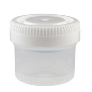 Container: Tite-Rite, 40mL (1.34oz), PP, 48mm Opening, Graduated, with Separate White Screwcap, 600/Unit