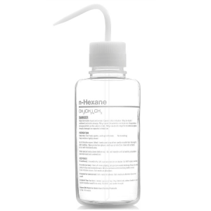 Wash Bottle, Hexane, 500mL, GHS, FEP, Vented, WHITE Screwcap, 4/Unit
