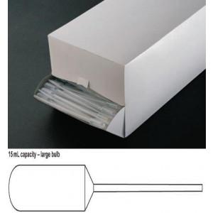 Transfer Pipet, 15.0mL, Narrow Stem, Large Bulb, 155mm, 250/Dispenser Box, 10 Boxes/Unit