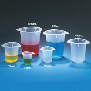 Beaker, Three Corner, PP, Graduated, 50mL, 100/Unit
