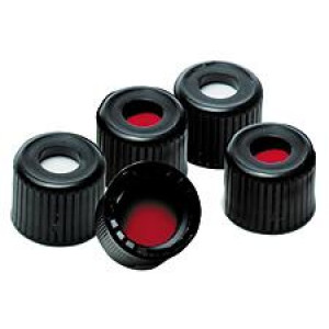 Black PP 8-425 cap w/ Ivory PTFE-Red Rubber Septa Assembled (100pk)