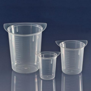 Beaker, Three Corner, Clarified PP, Graduated, 100mL, 100/Unit
