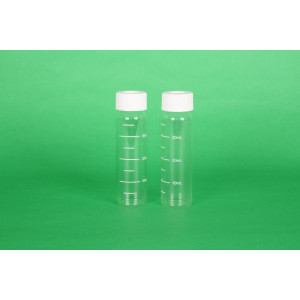 40mL Clear Graduated 33 Expansion VOA Vial Assembled w/Open Top Bonded T/S Septa {HEAVY} Cap, Certified (72/cs)