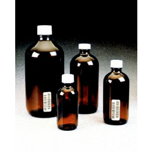 1Liter Amber Narrow Mouth, 33-430 PP PTFE Lined Cap Certified, Bar Coded (12/cs)
