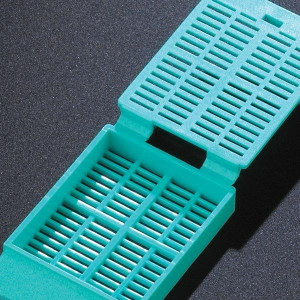 Cassette, Tissue Embedding with Attached Lid, 30° Writing Area, AQUA, 500/Dispenser Box, 2 Boxes/Unit