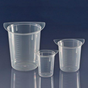 Beaker, Three Corner, Clarified PP, Graduated, 50mL, 100/Unit