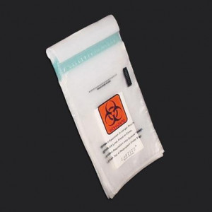 "Bag, Biohazard Specimen Transport, 6"" x 10"", Glue Seal with Document Pouch and Absorbent Pad, 500/Unit"