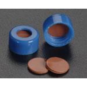 9-425 Blue Threaded Cap w/Press-Fit PTFE/Red Rubber Septum (100/pk)
