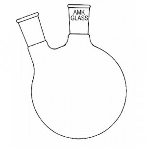 Round Bottom Flask, 50mL, 2-Neck, Angled 20°, 19/22 Center, 14/20 Side (ea)