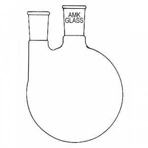 Round Bottom Flask, 500mL, 2-Neck, Vertical, 24/40 Center, 24/40 Side (ea)