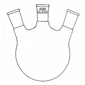 Round Bottom Flask, 100mL, 3-Neck, Angled 20°, 24/40 Center, 24/40 Sides (ea)