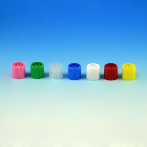 Screw Cap with Silicone Washer for Sample Tubes with External Threads (#'s: 6030-6059), Blue, 1000/Unit