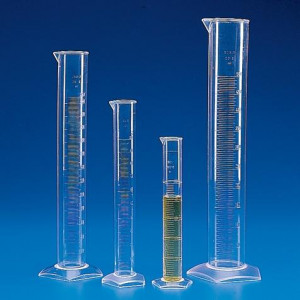 Graduated Cylinder, PMP (TPX), Molded Graduations, 250mL, 1/Unit