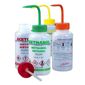 Wash Bottle, I.M.S., 500mL, LDPE, Multi-Lingual, Safety Vented, YELLOW Screwcap, 5/Unit
