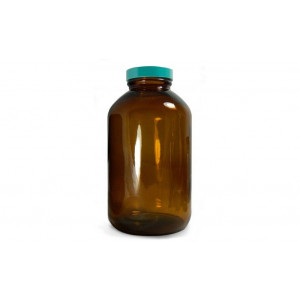 500mL  Amber Wide Mouth Packer With 53-400 Green Thermoset F217 & PTFE Lined Cap Attached (12/cs)