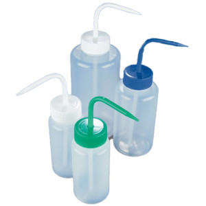 Wash Bottle, Wide Mouth, 500mL, LDPE, BLUE Screwcap, 5/Unit
