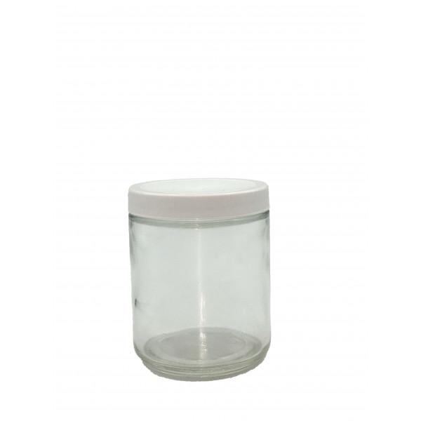 8oz Clear Straight Sided Jar Assembled w/70-400 F-217 Lined Cap (24/cs)