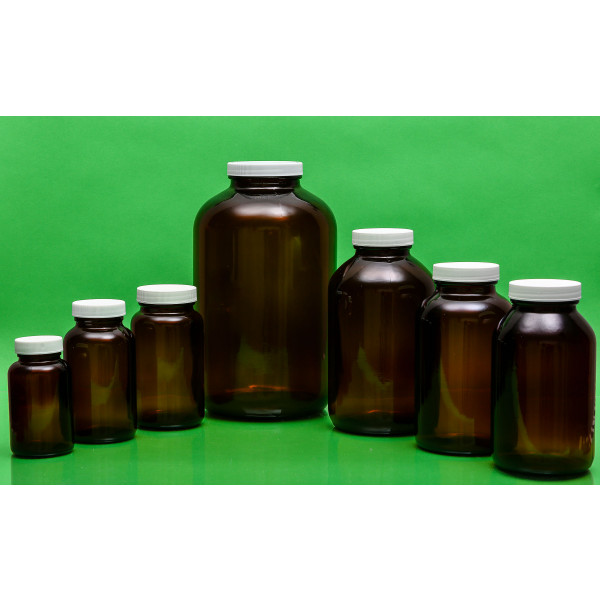300mL Amber Wide Mouth Packer Assembled w/53-400 PTFE Lined Cap (96/cs)