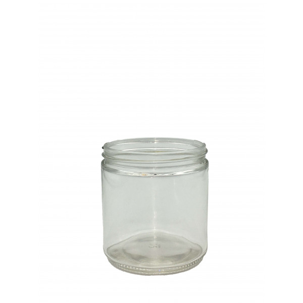 16oz Clear Straight Sided Jar Assembled w/89-400 PTFE Lined Cap (12/cs)